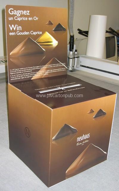 publicité carton - différentes catégories plv carton : urne en carton