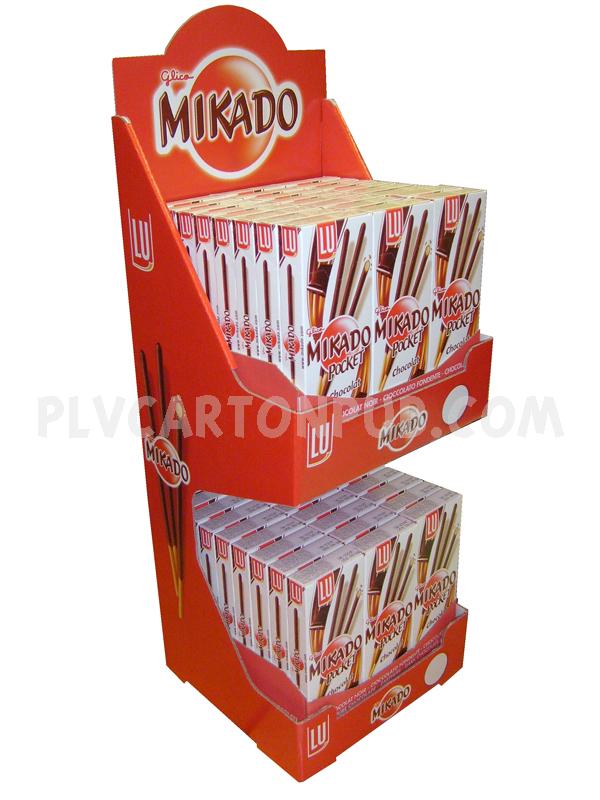 plv de comptoir - distributeur de produits en carton à deux étagères