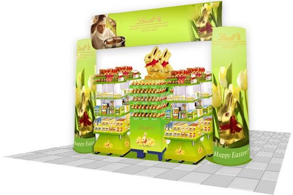 publicité et carton : ensemble présentoirs en carton et arche publicitaire en carton