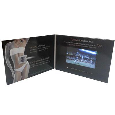 display carton - le second volet de ce dépliant contient un écran Lcd vidéo player qui joue une séquence vidéo à l'ouverture de la plaquette