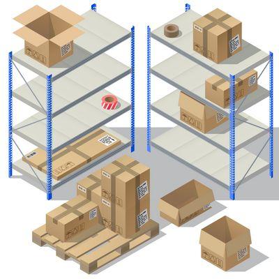 plv en carton - cartons sur étagères métalliques et palettes