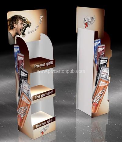 plv carton - présentoir de sol avec bacs