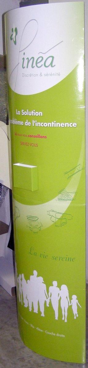 totem carton - totem de forme elliptique avec distributeur de flyers en face avant