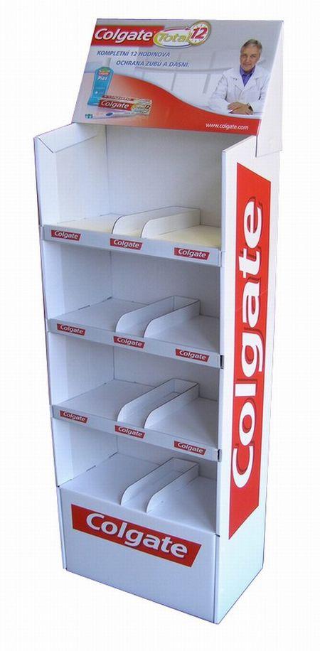 carton plv - présentoir en carton à étagère avec fronton décoré